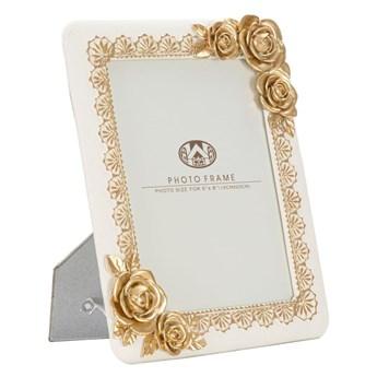 Beżowa ramka na zdjęcia z elementami w kolorze złota Mauro Ferretti Rose, 21x26 cm