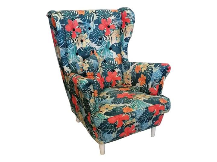 Fotel skandynawski USZAK 7 / wzór kwiaty Fotel uszak Drewno Pomieszczenie Salon