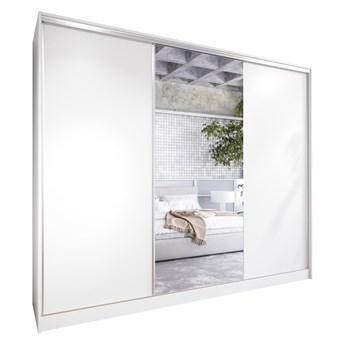 Szafa przesuwna z lustrem i szufladami CORINA 270 biała