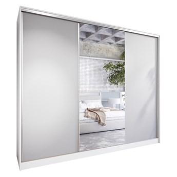 Szafa przesuwna z lustrem i szufladami CORINA 270 biały / szary