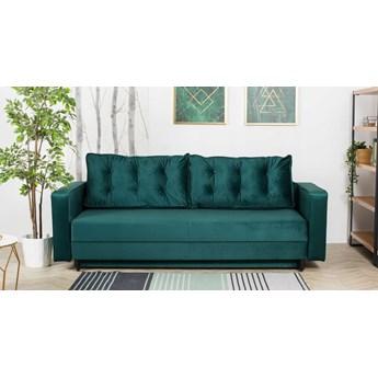 Sofa Rozkładana BRAVOS Funkcja Spania Pojemnik Butelkowa Zieleń