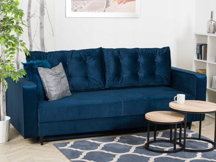 Sofa Rozkładana BRAVOS Funkcja Spania Pojemnik Granat Materiał obicia Tkanina Pomieszczenie Salon