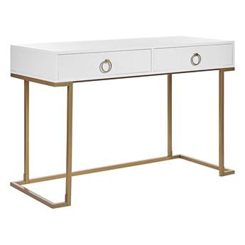 Konsola biała matowa 2 szuflady 77 x 115 cm złota metalowa podstawa elegancka toaletka biurko w stylu glamour