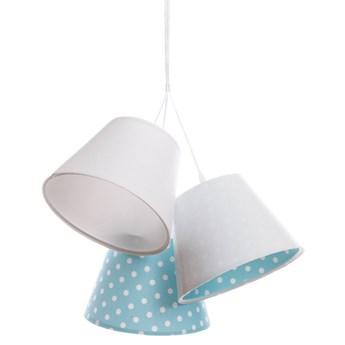 Biało-niebieska dziecięca lampa wisząca w groszki - EXX73-Leticia