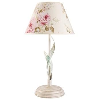 ALEKSIS lampka nocna biała z abażurem w kwiaty