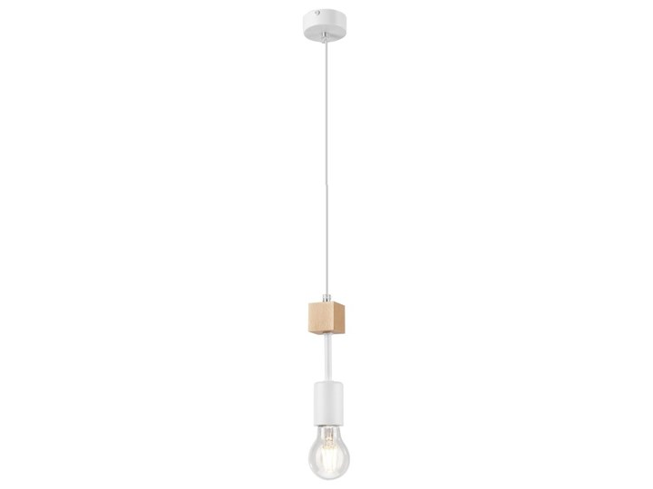 ORAZIO lampa wisząca 1-punktowa biała - naturalny buk
