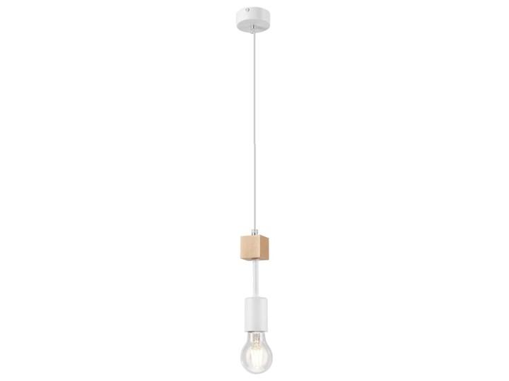 ORAZIO lampa wisząca 1-punktowa biała - naturalny buk Żarówka na kablu Drewno Metal Kolor Biały