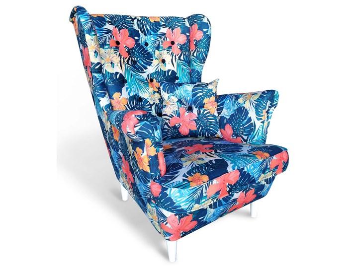 Fotel skandynawski USZAK 7 / wzór kwiaty Fotel uszak Drewno Kategoria Fotele do salonu