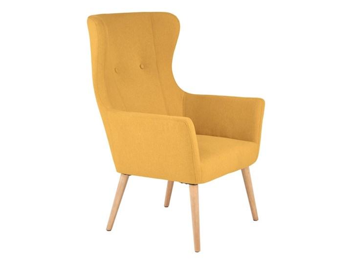 Fotel Cotto - 5 kolorów Jasny popiel Wysokość 99 cm Tkanina Wysokość 43 cm Szerokość 73 cm Kolor Szary Fotel uszak Drewno Głębokość 76 cm Styl Vintage