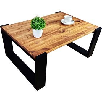 Drewniana ława do salonu w stylu loftowym - Mokka