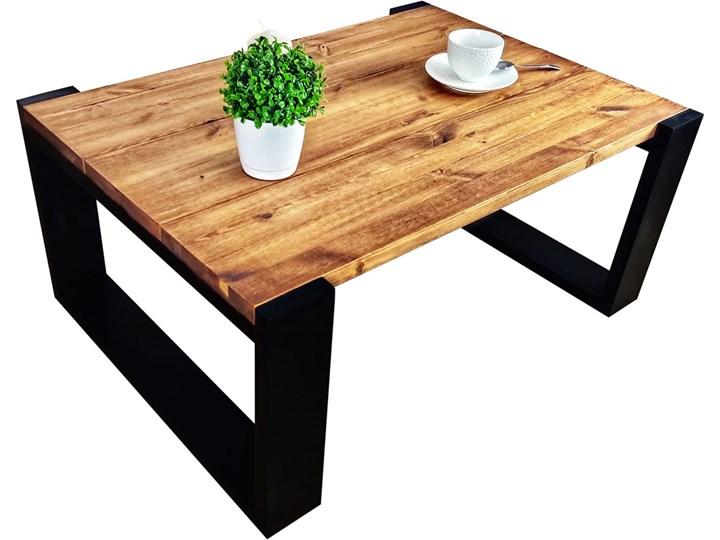 Drewniana ława do salonu w stylu loftowym - Mokka Wysokość 40 cm Płyta meblowa Drewno Styl Nowoczesny