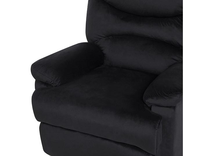 Rozkładany fotel telewizyjny czarny tapicerownany welurem rozkładane oparcie i podnóżek retro design Fotel rozkładany Metal Tworzywo sztuczne Tkanina Fotel inspirowany Styl Nowoczesny