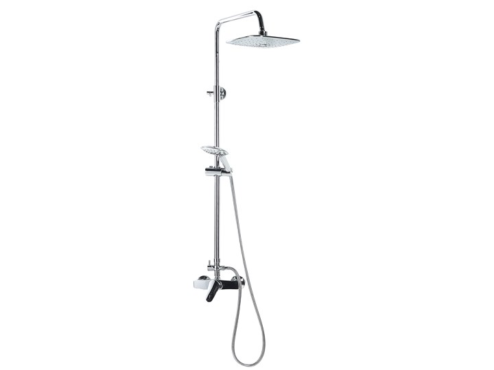 Kolumna prysznicowa srebrna chromowana mosiężna bateria z deszczownicą nowoczesna Kolor Srebrny