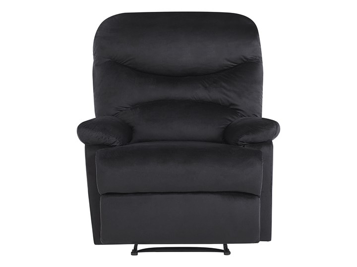 Rozkładany fotel telewizyjny czarny tapicerownany welurem rozkładane oparcie i podnóżek retro design Metal Tkanina Fotel inspirowany Tworzywo sztuczne Fotel rozkładany Styl Nowoczesny
