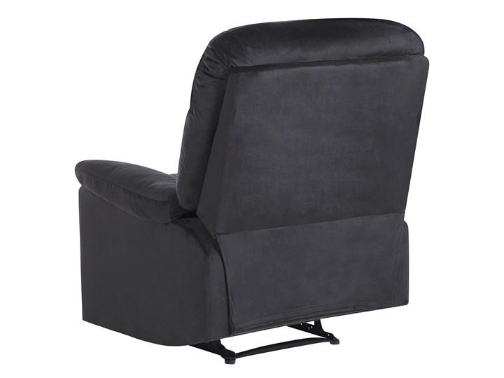 Rozkładany fotel telewizyjny czarny tapicerownany welurem rozkładane oparcie i podnóżek retro design Fotel inspirowany Tkanina Metal Tworzywo sztuczne Fotel rozkładany Styl Nowoczesny