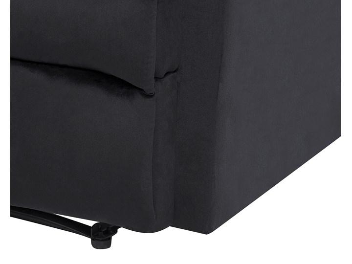 Rozkładany fotel telewizyjny czarny tapicerownany welurem rozkładane oparcie i podnóżek retro design Tworzywo sztuczne Styl Vintage Metal Tkanina Fotel rozkładany Fotel inspirowany Styl Nowoczesny