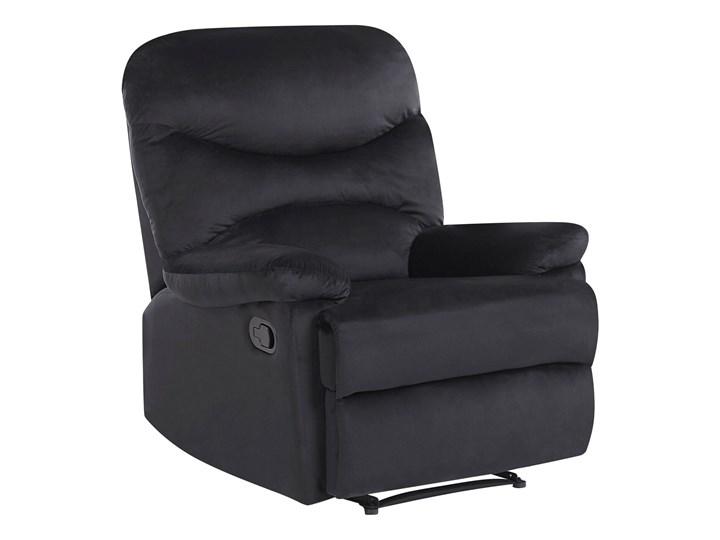 Rozkładany fotel telewizyjny czarny tapicerownany welurem rozkładane oparcie i podnóżek retro design Tkanina Metal Fotel inspirowany Fotel rozkładany Tworzywo sztuczne Styl Nowoczesny