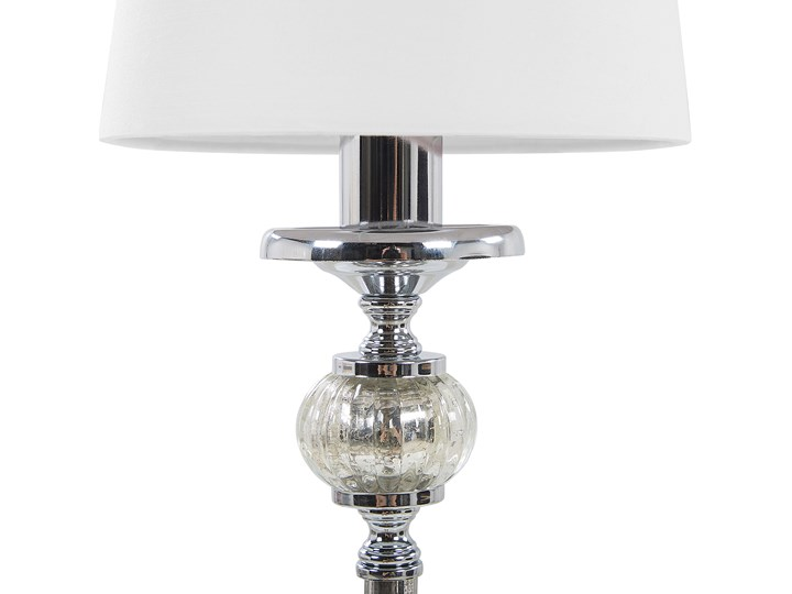 Lampa stołowa nocna biała srebrna nóżka styl glamour salon sypialnia Kolor Srebrny Lampa z abażurem Lampa nocna Styl Nowoczesny