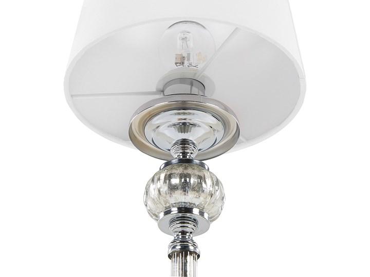 Lampa stołowa nocna biała srebrna nóżka styl glamour salon sypialnia Lampa z abażurem Kolor Srebrny Lampa nocna Styl Vintage