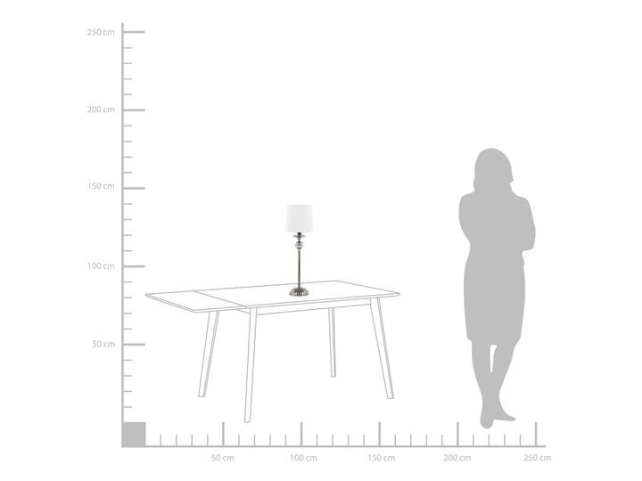 Lampa stołowa nocna biała srebrna nóżka styl glamour salon sypialnia Lampa nocna Lampa z abażurem Kolor Srebrny Styl Nowoczesny