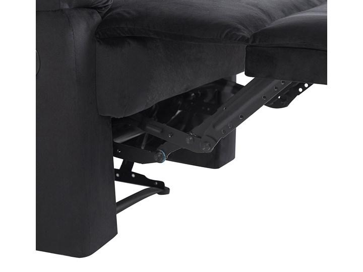 Rozkładany fotel telewizyjny czarny tapicerownany welurem rozkładane oparcie i podnóżek retro design Fotel rozkładany Tworzywo sztuczne Fotel inspirowany Tkanina Metal Styl Nowoczesny