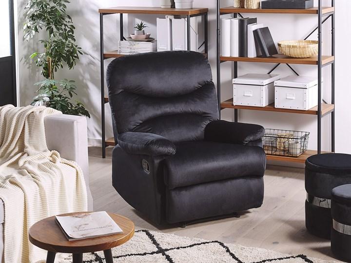 Rozkładany fotel telewizyjny czarny tapicerownany welurem rozkładane oparcie i podnóżek retro design Fotel inspirowany Styl Vintage Fotel rozkładany Tkanina Metal Tworzywo sztuczne Styl Nowoczesny