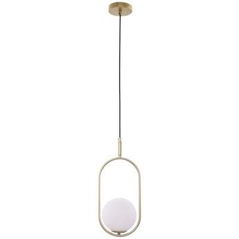 Wisząca LAMPA modernistyczna CORDEL 31-73457 COPEL metalowa OPRAWA zwis szklana kula ball mosiężna biała