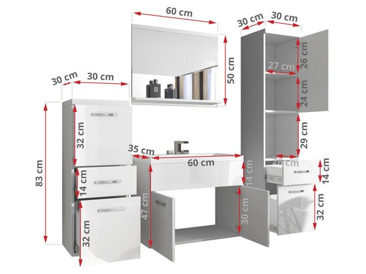 Meble wiszące mebli łazienkowych ALBA, Wotan - Biały połysk Kategoria Zestawy mebli łazienkowych Kolor Brązowy