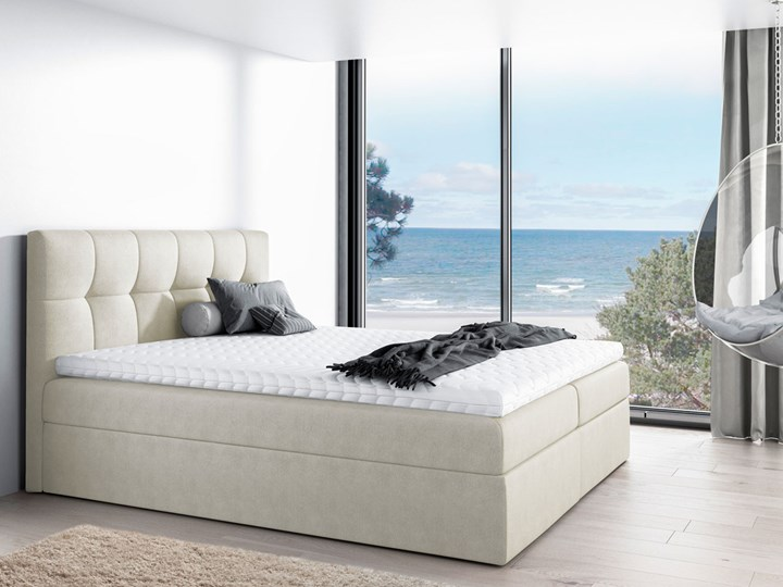 Łóżko kontynentalne tapicerowane RICO 180x200 pojemnik Kolor Beżowy Łóżko tapicerowane Kategoria Łóżka do sypialni
