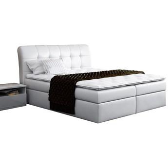 Łóżko tapicerowane kontynentalne DIEGOS 140x200 białe ekoskóra
