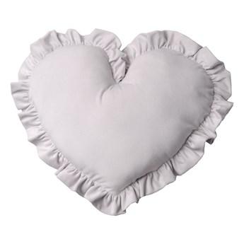 Poduszka dekoracyjna serce z falbanką duża - szary