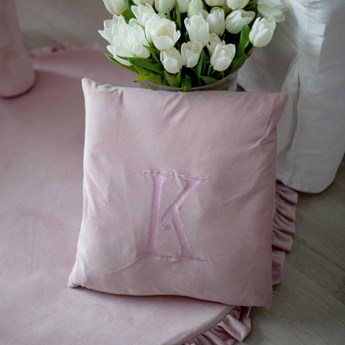 Decorative pillow with embroidered selected letter powder pink