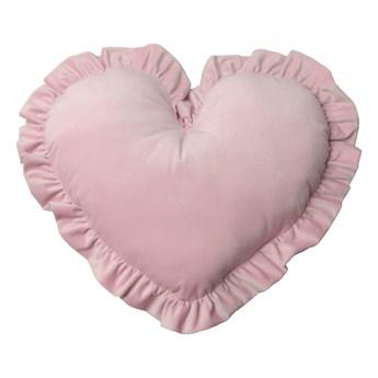Poduszka dekoracyjna serce z falbanką duża - pudrowy róż