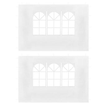 vidaXL Ścianki boczne do namiotu, 2 szt., z oknem, białe
