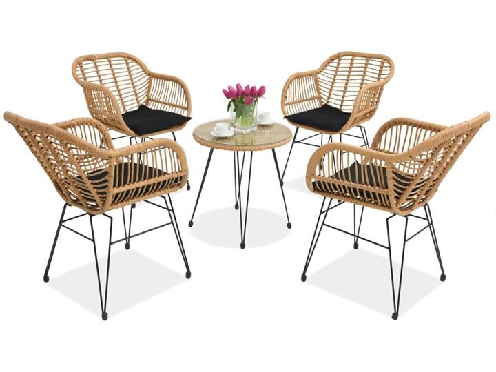 Meble ogrodowe z technorattanu Malta 4 Garden Point beżowe Stal Stoły z krzesłami Kolor Beżowy Tworzywo sztuczne Zestawy kawowe Zawartość zestawu Stolik