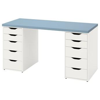 IKEA LAGKAPTEN / ALEX Biurko, Jasnoniebieski/biały, 140x60 cm