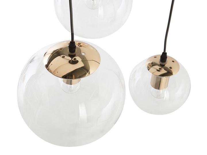 Lampa wisząca przezroczysta szklana 3-punktowa kuliste klosze Lampa z kloszem Szkło Styl Nowoczesny Metal Mosiądz Kolor Przezroczysty