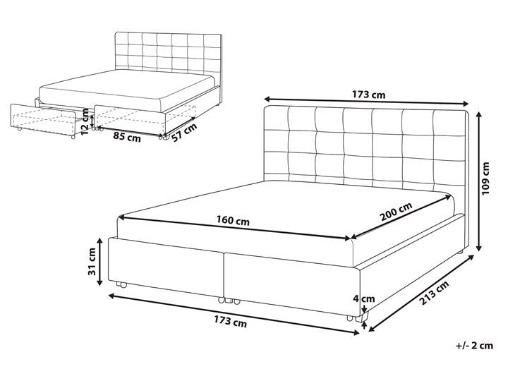 Łóżko jasnoszare tapicerowane 160 x 200 cm z pojemnikiem i stelażem pikowany zagłówek Łóżko tapicerowane Kategoria Łóżka do sypialni