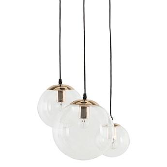 Lampa wisząca przezroczysta szklana 3-punktowa kuliste klosze