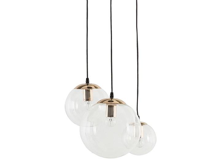 Lampa wisząca przezroczysta szklana 3-punktowa kuliste klosze Metal Lampa z kloszem Szkło Mosiądz Styl Nowoczesny