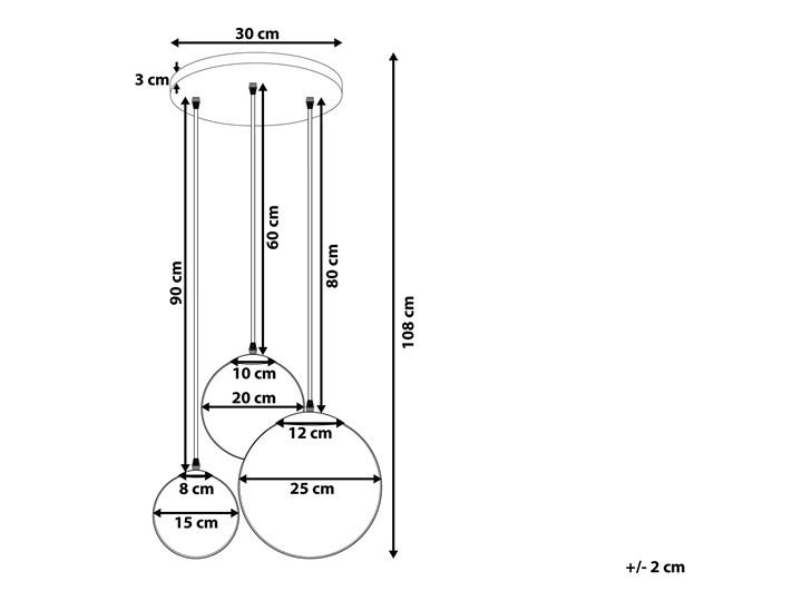 Lampa wisząca przezroczysta szklana 3-punktowa kuliste klosze Lampa z kloszem Kolor Przezroczysty Szkło Metal Mosiądz Kategoria Lampy wiszące