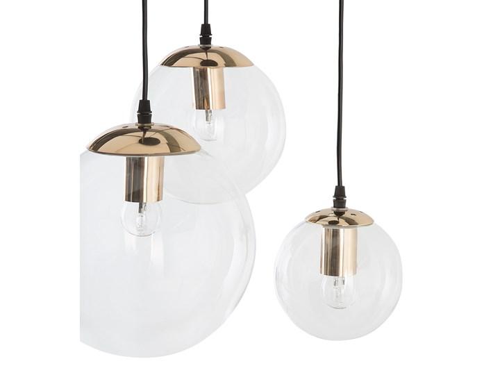 Lampa wisząca przezroczysta szklana 3-punktowa kuliste klosze Szkło Metal Mosiądz Kolor Złoty Lampa z kloszem Kolor Przezroczysty