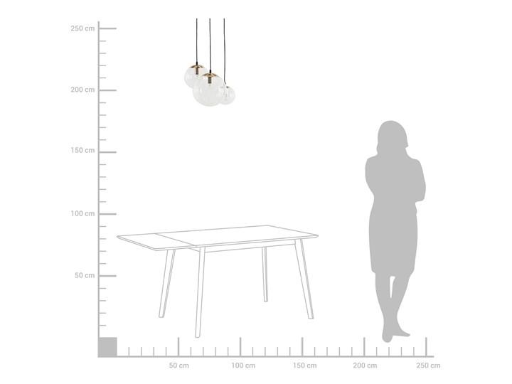 Lampa wisząca przezroczysta szklana 3-punktowa kuliste klosze Metal Lampa z kloszem Mosiądz Szkło Kolor Przezroczysty
