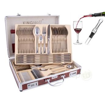 Sztućce w walizce KingHoff KH 3565 72 elementy zestaw widelce łyżki noże satyna
