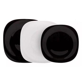 Serwis obiadowy Carine Luminarc 18 elementów czarno biały talerze dla 6 osób