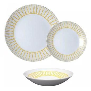 Serwis obiadowy Arcopal Zelie Auberi 18 elementów białe talerze z pomarańczowym wzorem dla 6 osób
