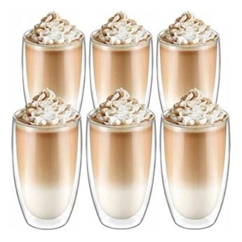 Szklanki termiczne 450 ml do kawy latte zestaw 6 sztuk