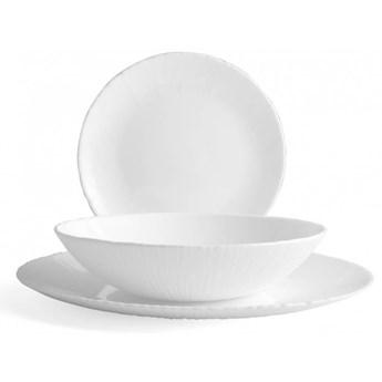 Serwis obiadowy Bormioli Coconut 18 elementów biały talerze dla 6 osób