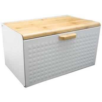 Chlebak metalowo drewniany Krisberg 7608 pojemnik na pieczywo z deską biały