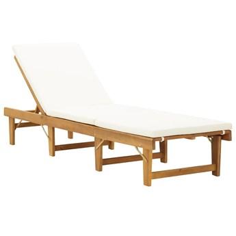Składany leżak z poduszką, lite drewno akacjowe